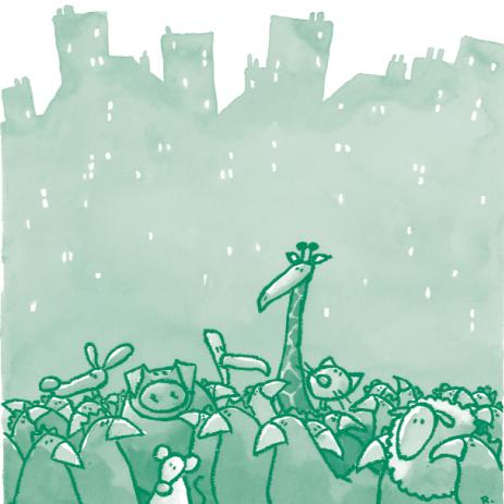 Illustration représentant un groupement d'animaux (giraffes, kangourous, poules, moutons, souris) sur fond de ville