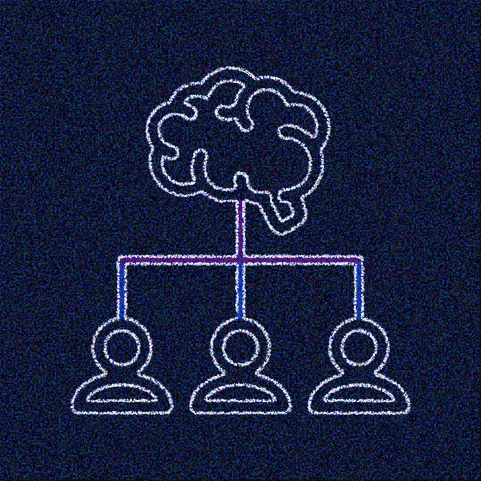 Illustration représentant 3 individus distinct dont les pensées se mêlent pour n'en former qu'une seule