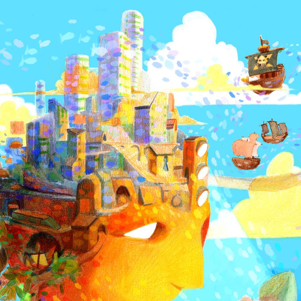 Illustration d'une tête avec une ville sur le haut du crâne