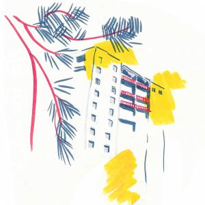 Illustration représentant un immeuble de Saint-Priest. Feutre, encre de chine et mise en couleur à la tablette graphique.