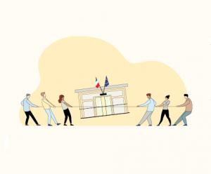 Illustration de 2 groupes de personnes tirant une administration
