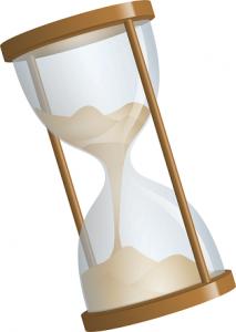 Illustration d'un sablier penché