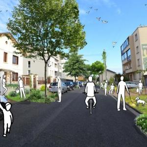 Photo d'une rue, avec des dessins de personnes se baladant