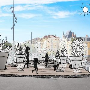 Illustration d'un projet d'aménagement de la place Grandclément à Villeurbanne