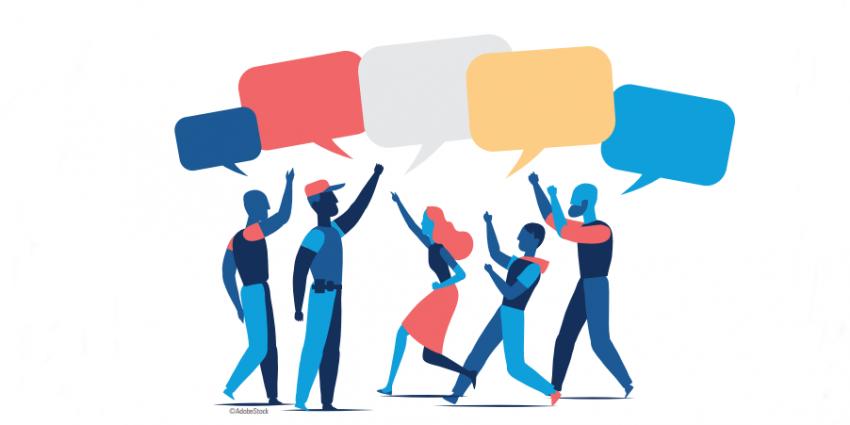 Illustration représentant un foule d'individus conversant