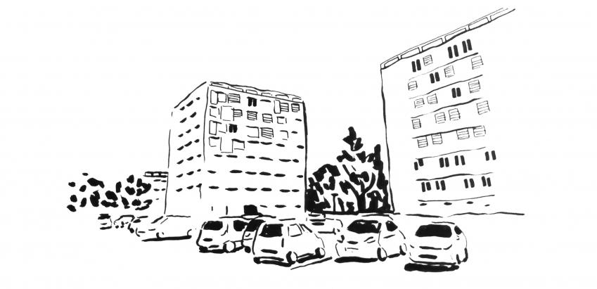 Illustration représentant un parking brûlant du plateau de Bel-Air – Secteur de la Cordière. Feutre et encre de Chine