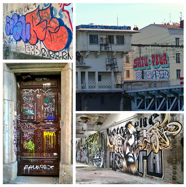 Tag (en bas à gauche), flop (Asure - en haut à gauche), graff (Peur et Satu-en haut à droite) et fresque (Heta - en bas à droite) sont les quatre principales disciplines qui composent le graffiti.