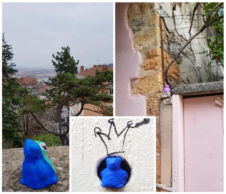 Lerangdhonneur, moulages, Lyon 1er en collaboration avec Line-Street pour l'ours de gauche, 2018-2019