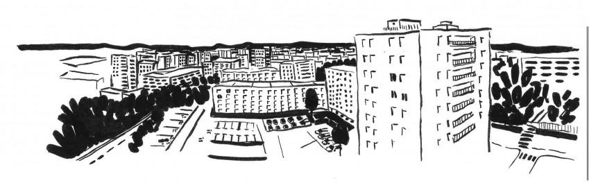 Panorama depuis le 12ème étage d'une tour du quartier de Bel-Air, illustration au feutre et à l'encre de Chine.