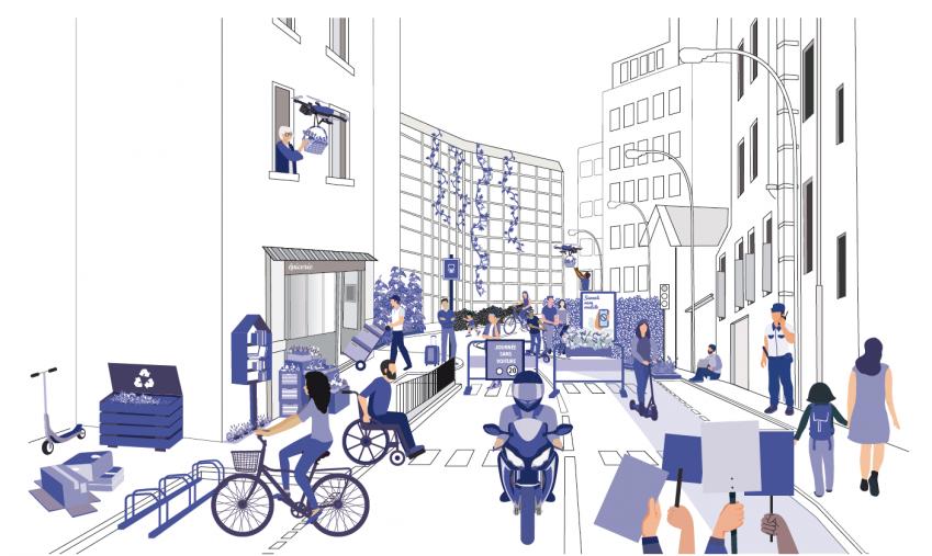 Illustration d'une rue représentant différentes mobilités