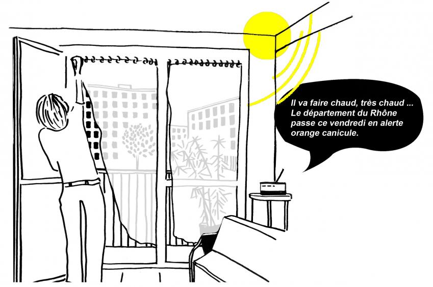 """Illustration représentant une femme dans son appartement fermant ses volets. La radio annonce """"Il va faire chaud, très chaud... Le département du Rhône passe ce vendredi en alerte orange canicule"""""""