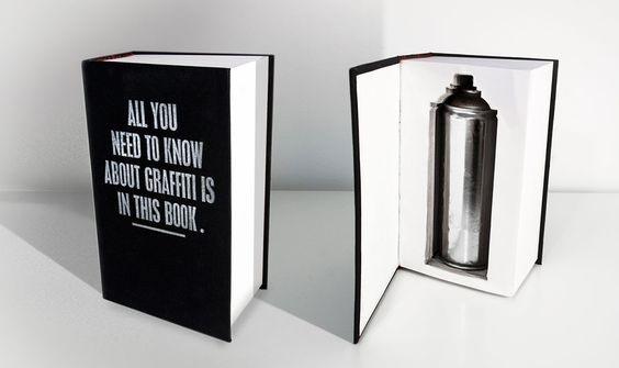 Benoit Ollive. « All you need to know about graffiti is in this book ». Le designer Benoit Ollive, également connu comme graffeur sous le pseudonyme de Revert, souligne la liberté intrinsèque du graffiti tel qu'il le conçoit. On peut lire l'affirmation de la primauté de l'acte dans cette œuvre provocante, qui résume « tout ce que vous avez besoin de savoir sur le graffiti » à une bombe de peinture.