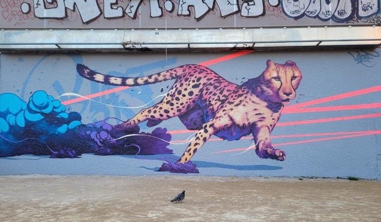 Fresque de Kalouf sur la Gâche, le mur de la place Mazagran, 2021