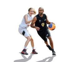 """Illustration représentant deux joueurs de basket, issue de la couverture de l'ouvrage """"Les Défis de l'Olympisme, entre héritage et innovation"""""""