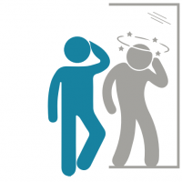 Illustration représentant un individu en bonne santé regardant son reflet dans le miroir, le reflet d'un individu ayant la tête qui tourne.