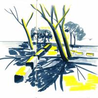 Illustration représentant des bancs dans un parc