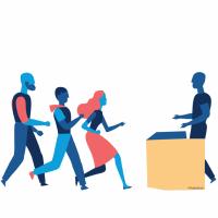 Illustration représentant 3 individus se présentant à un guichet tenu par un quatrième individu