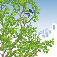 Illustration du feuillage d'un arbre dans lequel habite un oiseau sur fond de paysage urbain