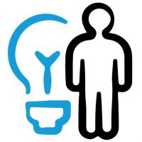 Illustration représentant un individu se tenant debout à côté d'une grosse ampoule