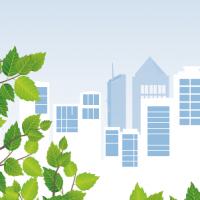 Illustration de feuilles vertes sur fond de ville