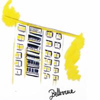 Illustration représentant un immeuble de quartier Bellevue à Saint-Priest