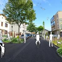 Photographie d'une rue végétalisée avec illustration de personnage profitant du cadre de vie pour faire du vélo, promener leurs chiens, se balader, etc.