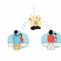 Illustration montrant un usager et un agent au guichet qui ne se comprennent pas