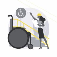 Illustration représentant une femme portant un casque de chantier, créant un aménageant pour adapter un escalier à un fauteuil roulant
