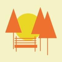Illustration représentant un bans et trois sapins sous le soleil