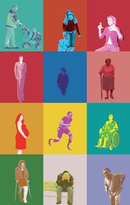 Illustration représentant des individus en situations de handicap