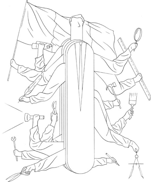 dessin Anne-Margot Ramstein: couteau suisse qui sert à tout